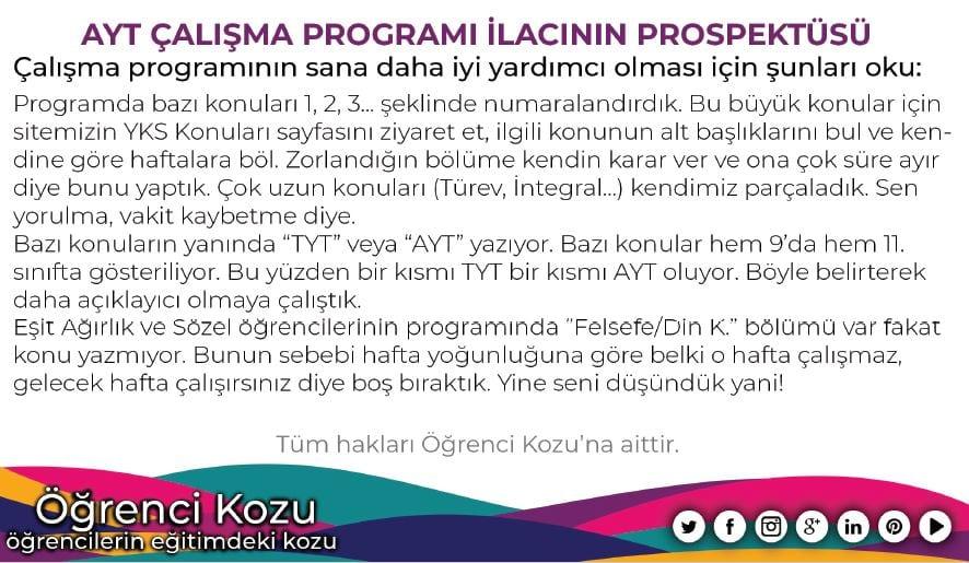 2019 AYT Çalışma Programı TM